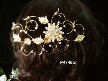 Handmade 18k golden floral silver pearl bridal comb wedding tiara headpiece hair accessories 4746G
