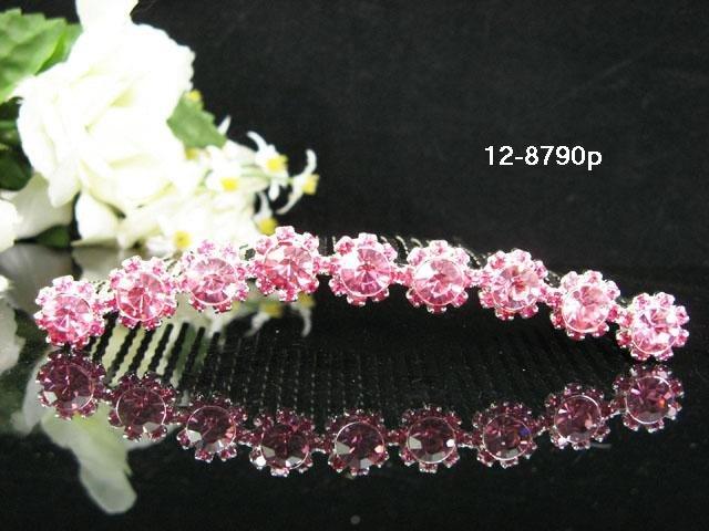 Handmade pink floral silver bridal comb,wedding tiara headpiece hair accessories regal 8790P