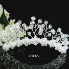Handmade floral silver bridal comb,wedding tiara headpiece woman hair accessories 3145