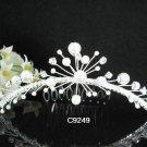 crystal silver pearl bridal comb,wedding tiara headpiece woman hair accessories regal 9249