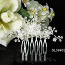 Handmade silver floral crystal bridal comb,wedding woman hair accessories tiara regal SL976s