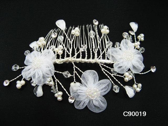 Handmade silver organza crystal pearl daisy bridal comb,wedding hair accessories tiara 90019