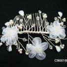 Handmade silver organza crystal pearl daisy bridal comb,wedding hair accessories tiara 90019