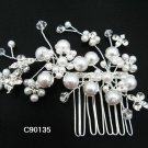 Handmade Bridal silver pearl floral cute hair comb,wedding headpiece accessories tiara regal 90135