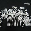 Handmade Bridal silver floral pearl hair comb,wedding headpiece hair accessories tiara regal 90138