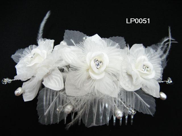 handmade organza pearl floral silver bridal comb,wedding headpiece woman hair accessories tiara lp51