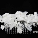 Silver handmade organza crystal pearl floral bridal comb,wedding tiara hair accessories lp101