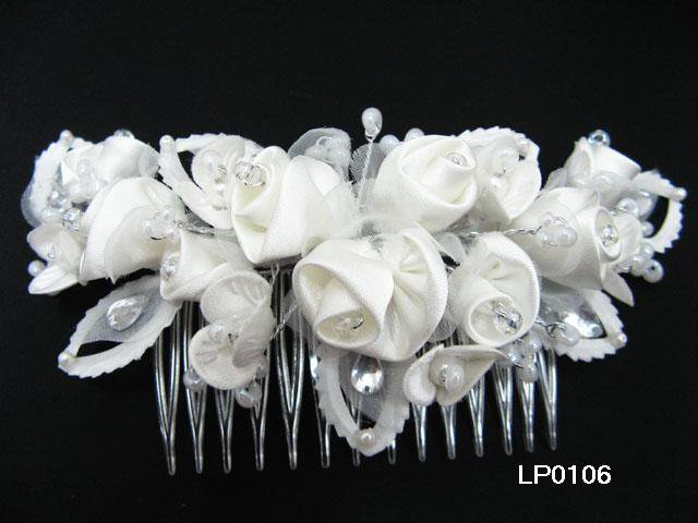 Silver handmade crystal bridal comb,wedding tiara organza pearl floral woman hair accessories lp106