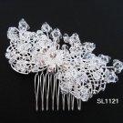 Silver handmade rhinestone crystal bridal comb,wedding tiara alloy floral woman hair accessories