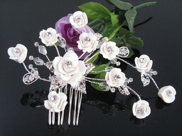 Handmade silver porcelain daisy crystal hair bridal comb,wedding tiara woman hair accessories SL1275
