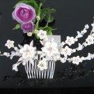 Bridal silver handmade rhinestone porcelain daisy hair comb,wedding tiara hair accessories SL1278