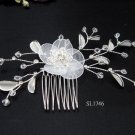 Bridal silver handmade crystal hair comb,wedding tiaraorganza floral hair accessories regal SL1746