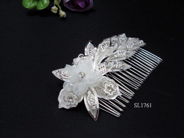 Bridal silver handmade floral crystal hair comb,wedding tiara headpiece hair accessories SL1761