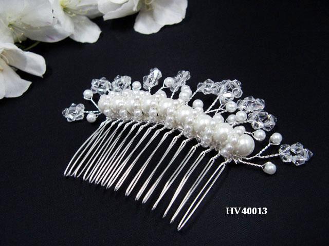 Bridal silver handmade daisy pearl hair comb,wedding tiara headpiece hair accessories regal 4013