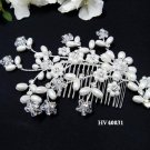 Bridal silver handmade floral pearl hair comb,wedding tiara headpiece hair accessories regal 4031