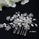 Bridal silver handmade bridesmaid rhinestone hair accessories floral crystal pearl comb 4041