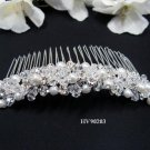 Bridal silver handmade headpiece,bridesmaid hair accessories band simple pearl comb 90203
