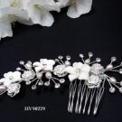 Bridal handmade porcelain floral cute tiara,bridesmaid hair accessories feather pearl comb 90229