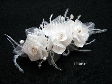 Bridal handmade ostrich feather satin floral tiara,bridesmaid hair accessories pearl comb 51i