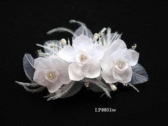 Bridal handmade ostrich feather organza floral tiara,bridesmaid hair accessories pearl comb 51w