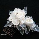 Bridal handmade silver crystal satin organza floral tiara,bridesmaid hair accessories pearl comb 54i