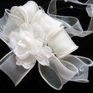 Bridal handmade silver satin organza floral tiara,bridesmaid hair accessories pearl comb 87