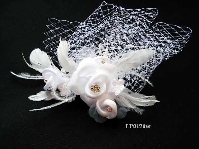 Bridal handmade silver satin feather floral net tiara,bridesmaid hair accessories pearl comb 126