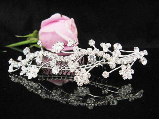 Tiara Bridal Comb, Silver Crystal Floral Hair Comb Tiara style, Wedding hair Comb 7188