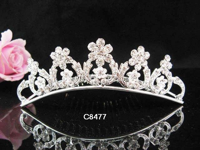 Silver bridal crystal comb,bridesmaid handmade hair accessories,wedding tiara comb 8477