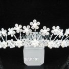 silver bride bridal crystal pearl comb,bridesmaid hair accessories,wedding tiara regal 1101