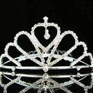 Silver Rhinestone Crystals Drop Clear Hair Comb Tiara For Wedding Bridal t16