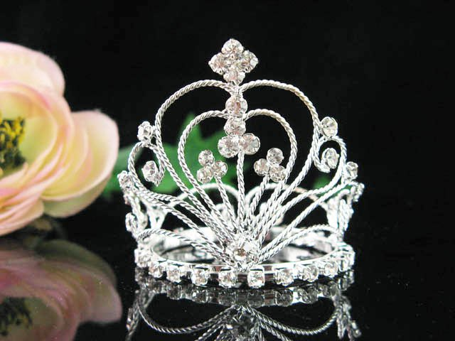 Silver wedding bridal crystal small crown handmade hair accessories,wedding tiara regal 8776