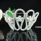 Silver bridal tiara crystal small crown bride wedding woman hair accessories 6909