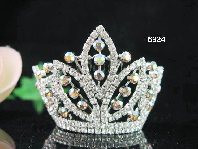Silver bridal crystal small crown wedding bridal hair accessories,alloy tiara regal 6924
