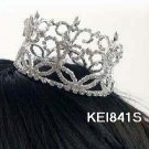 Handmade Silver bride bridal crystal small crown, bridal hair accessories delicate tiara 841s
