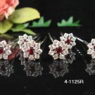 6 piece silver bride bridal crystal red floral bridal hairpin bridesmail hair accessories veil 1125r