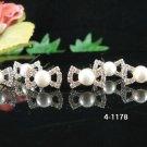 6 piece silver bridal crystal bow-tie pearl hairpin,handmade wedding hair accessories pin veil 1178