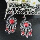 FANCY RED DANGLER ALLOY BRIDE BRIDAL EAR-DROP ACRYLIC HOOK WEDDING EARRINGS SET E4