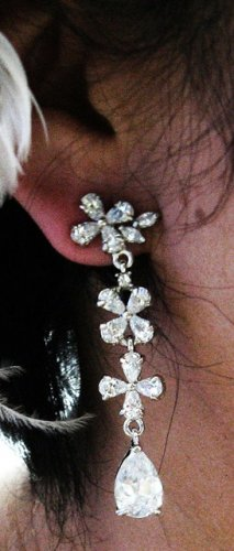 SILVER FANCY FLORAL DANGLER ALLOY BRIDAL EAR-DROP ZIRCON STUD WEDDING EARRINGS SET E51
