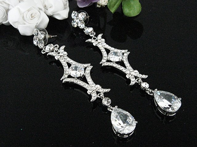 SILVER FANCY LONG DANGLER ALLOY BRIDE PARTY EAR-DROP ZIRCON STUD WEDDING EARRINGS JEWELRY SET E6391