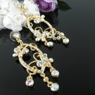 18K GOLDEN DANGLER ALLOY WEDDING EAR-DROP AB CRYSTAL STUD BRIDAL BRIDE EARRINGS SET G170g