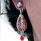SILVER DANGLER ALLOY METAL EAR-DROP HANDMADE AB RED CRYSTAL STUD EARRINGS SET G176R