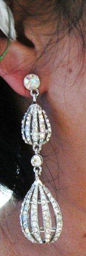 SILVER DANGLER ALLOY WEDDING EAR-DROP AB CRYSTAL STUD BRIDE BRIDAL EARRINGS SET G176S