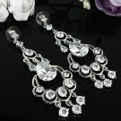 SILVER ZIRCON DANGLER ALLOY BRIDESMAID EAR-DROP CRYSTAL STUD BRIDE BRIDAL EARRINGS SET E7550S