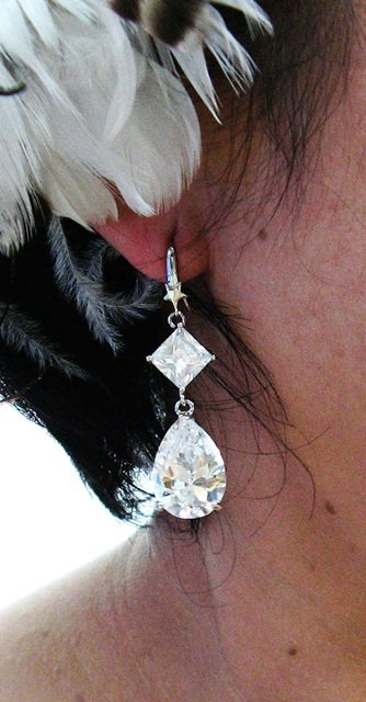 SILVER ZIRON DANGLER ALLOY BRIDE BRIDAL  EAR-DROP CRYSTAL STUD WEDDING EARRINGS SET ET22S