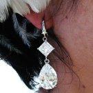 SILVER ZIRON DANGLER ALLOY BRIDE BRIDAL  EAR-DROP CRYSTAL STUD WEDDING EARRINGS SET ET22S