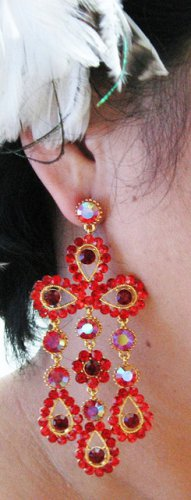18K GOLD DANGLER ALLOY WEDDING EAR-DROP CRYSTAL STUD BRIDAL EARRINGS SET G146G RED