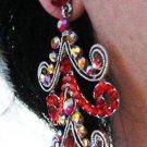 RHODIUM DANGLER ALLOY BRIDAL EAR-DROP CRYSTAL STUD WEDDING EARRINGS SET G148