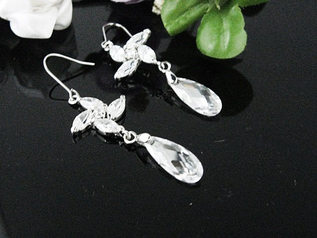 SILVER DANGLER ALLOY BRIDAL EAR-DROP HANDMADE CRYSTAL ZIRCON HOOK BRIDE EARRINGS WE57