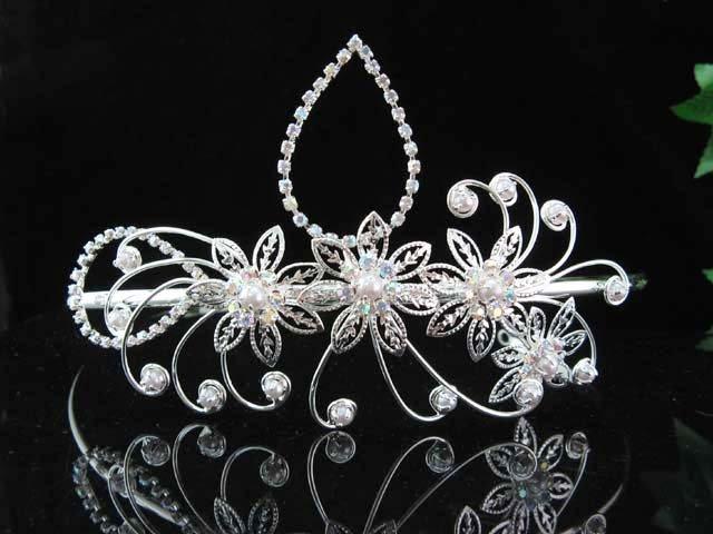 bridesmaid bride headpiece wedding hair accessories silver pearl huge bridal tiara #8400